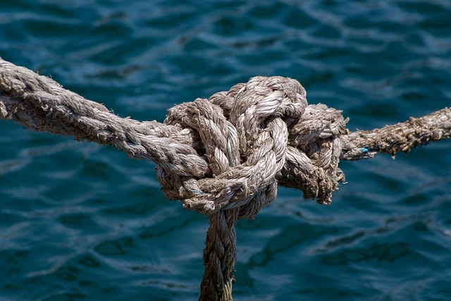 nautical rope knot over the sea