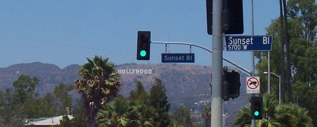 Hollywood sign and Sunset Blvd signs
