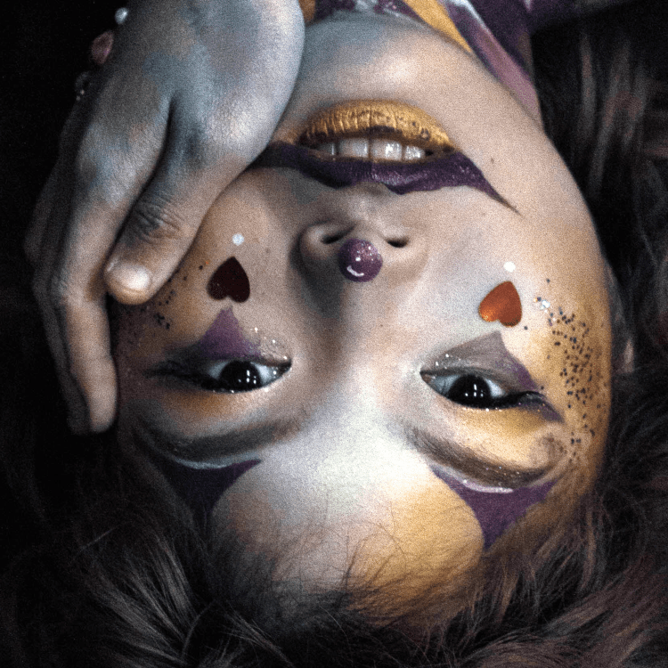 face paint on an upside-down face