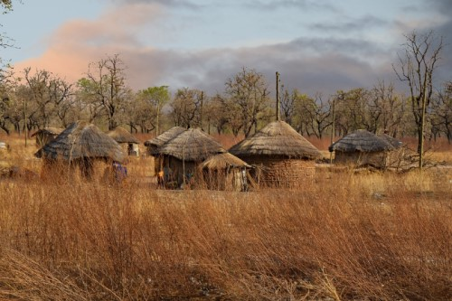 mud huts in Ghana, West Africa