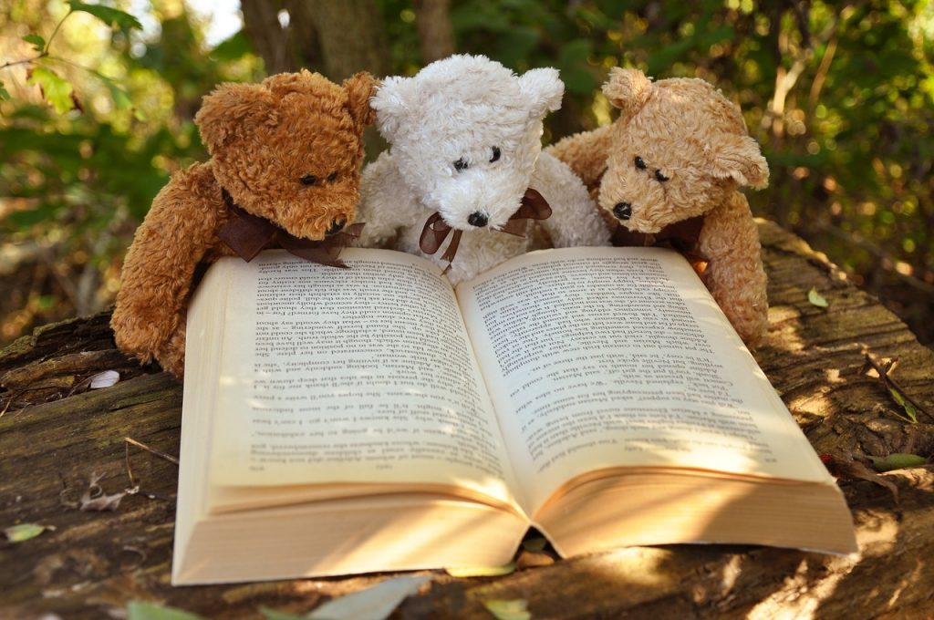 three teddy bears reading a book