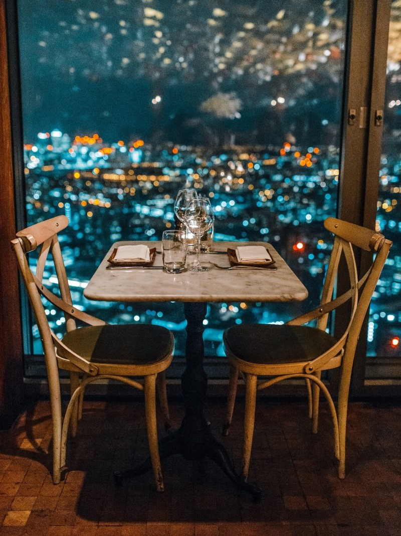 dinner for two at restaurant overlooking city