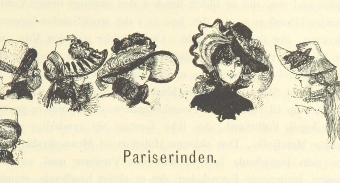 French fashion of the late 1800s, vintage costume, hats, Parisian women, France in the Victorian Age