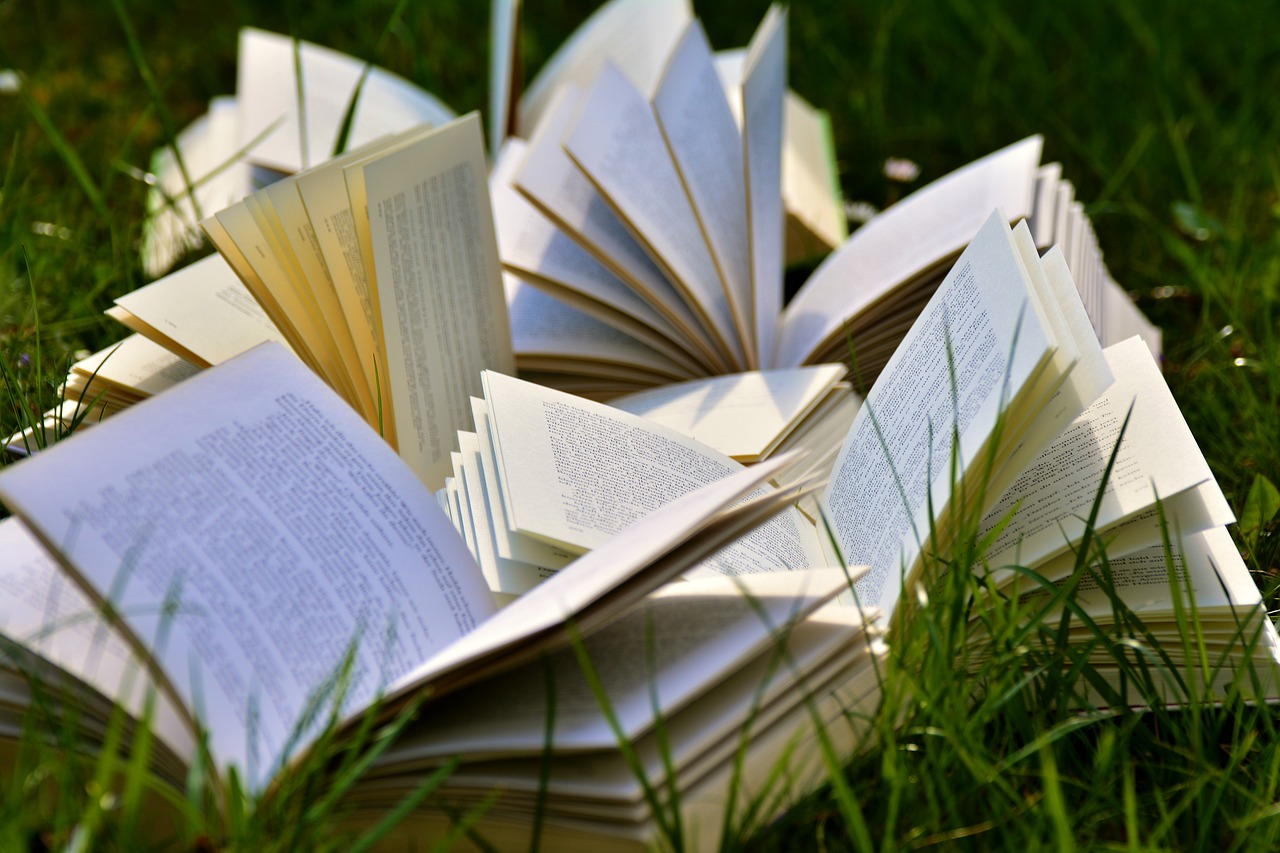 open books on grass