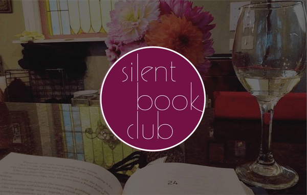 Silent Book Club icon with books and wine