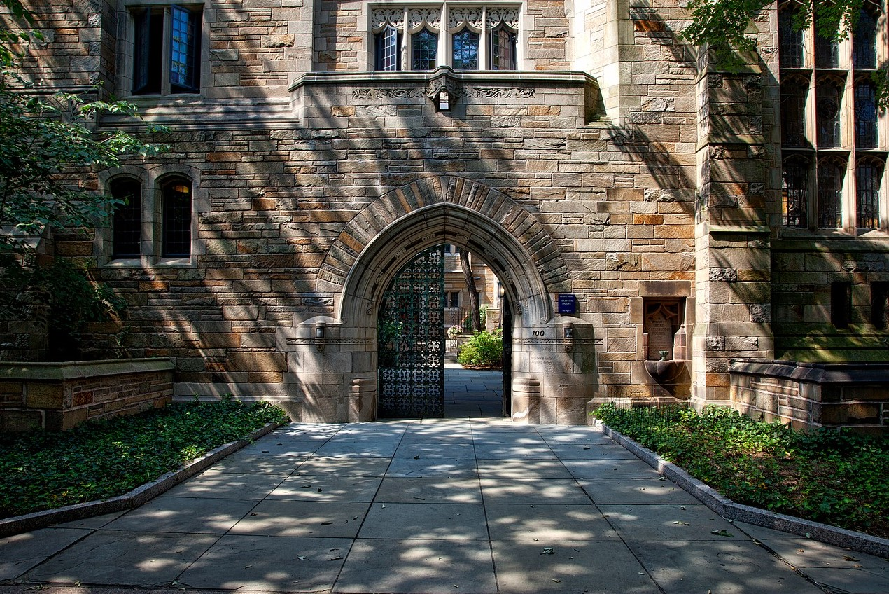 Yale University doorway arch: a campus where high-caliber book reading skills are needed