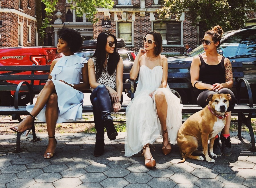 four stylish women in New York City