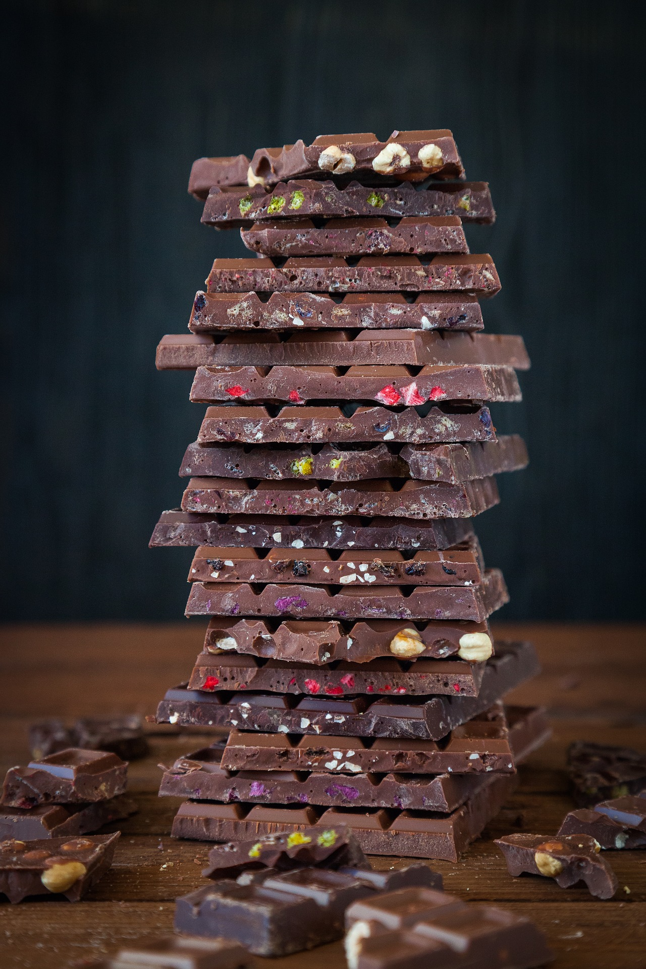 tall pile of chocolate bars . . . to eat in moderation