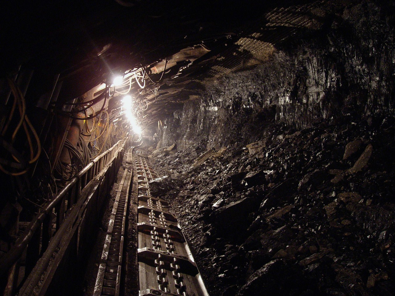 coal mine, a view from underground