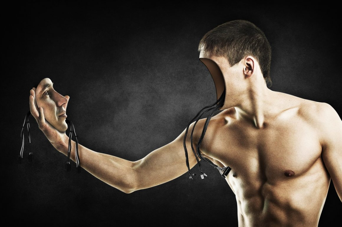 illustration of a man pulling off his face to reveal wires . . . he is a robot