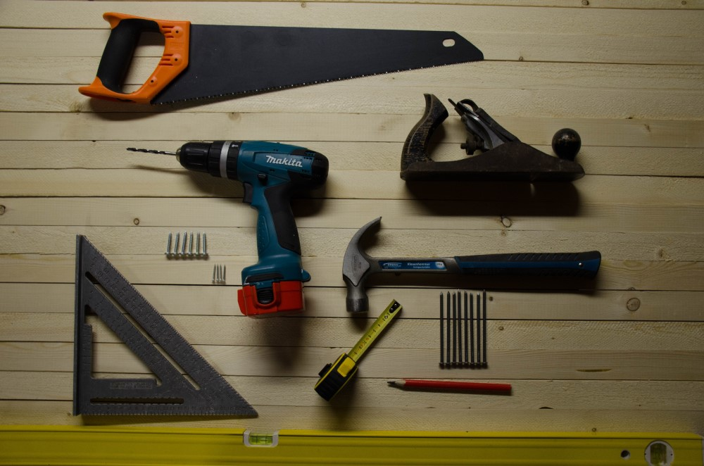 best handyman in Rockville Maryland - he uses tools such as the ones pictured here - hammer, saw, drill, etc.