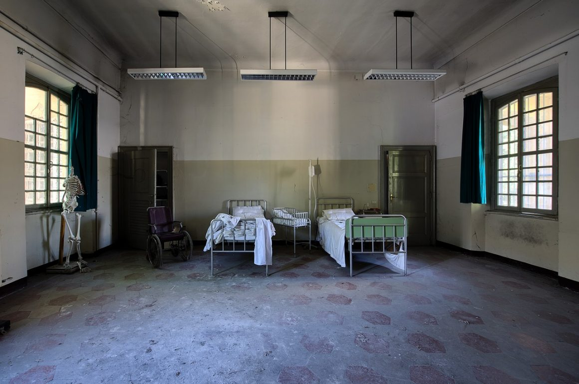 hospital room with beds and windows