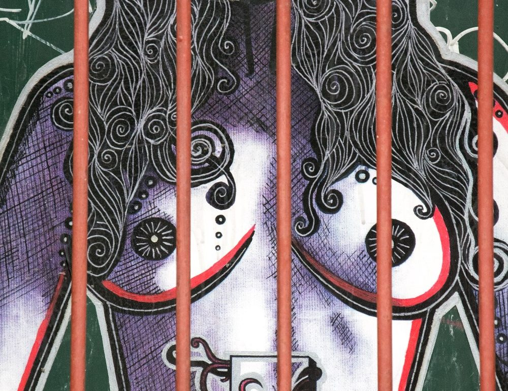 woman behind bars modern art Prague Lusi Lu