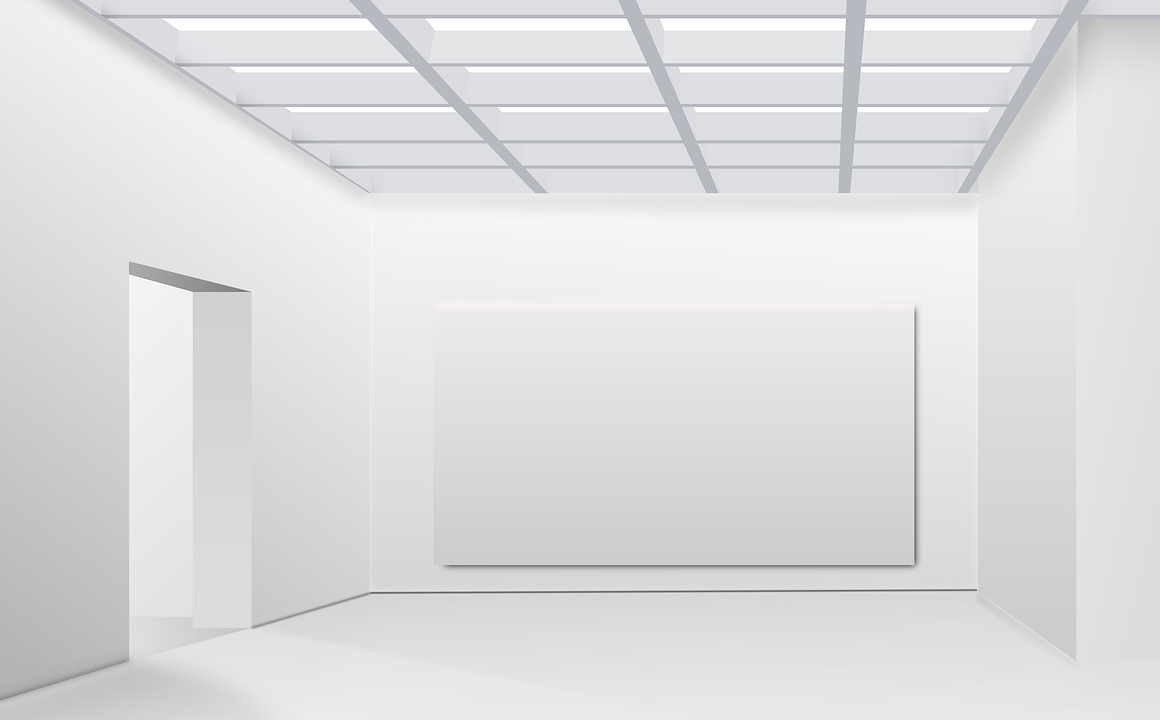 all white and empty art museum room