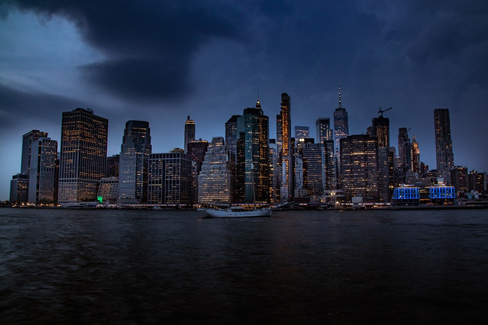 Manhattan skyline, NYC under dark clouds