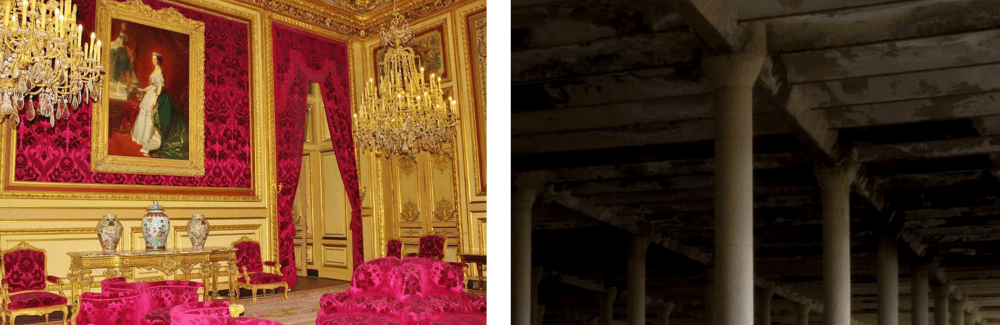 Two photos. First is of Louis XVI drawing room with brasses and brocatelle. Second is of ugly ceiling of old dark factory warehouse room.