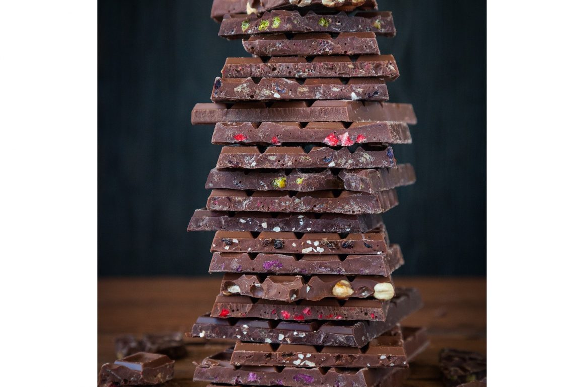 tall stack of chocolate bars . . . to eat in moderation