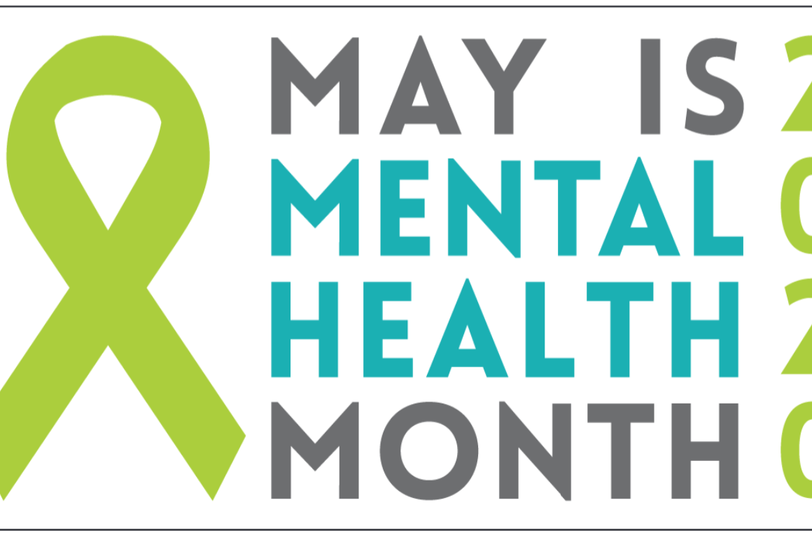 May is Mental Health Month 2020 with green ribbon