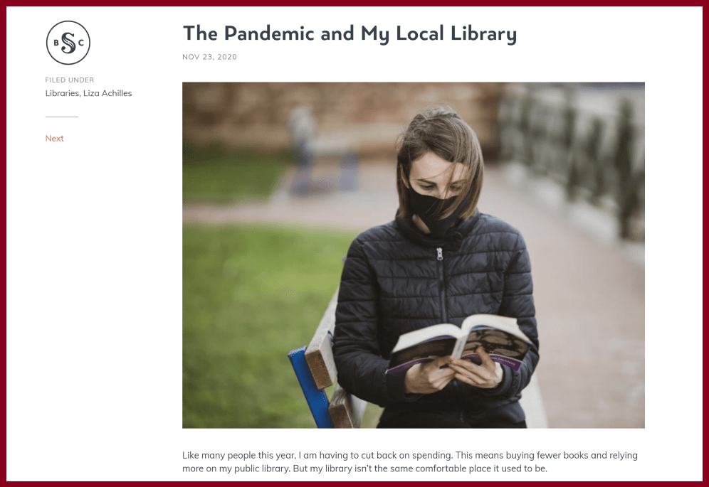 Silent Book Club blog post called The Pandemic and My Local Library