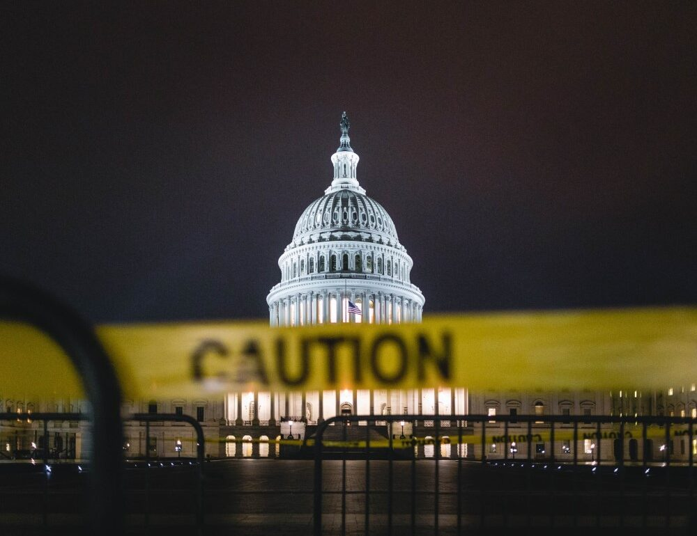 us capitol building with caution tape