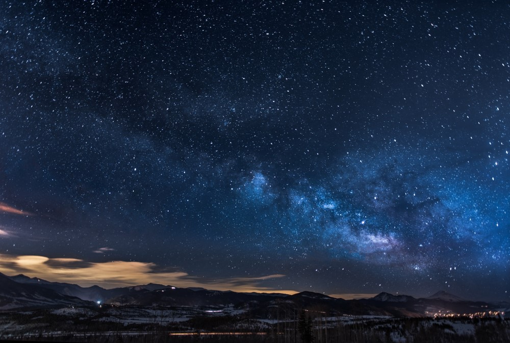 night with stars and mountains